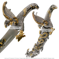 "13"" Two Tone Golden Twin Eagles Snake Fantasy Dagger Blade Short Sword Gift"