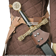 Brown Medieval Genuine Leather Right Handed Sword Frog Holder Renaissance LARP