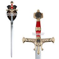 """49"""" Medieval 10th Century King Solomon Crusader Knight Sword Deluxe Display Plaq"""