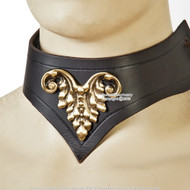 Medieval Style Leather Lady Collar w/ Cast Brass Decoration Renaissance Costume