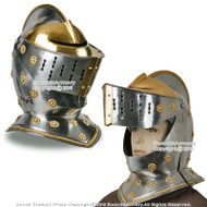 Wearable Royal Guard Close Helm Medieval Crusdader Knight Steel Helmet LARP