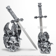 "17"" Silver Dragon Skull Stainless Steel Dagger Sword Letter Opener with Stand"