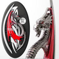 "11"" Semi Circle Round Red Black Fierce  Dragon Dagger Knife with Display Plaque"