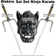 "Set Of Two 19"" Octagon Sai Set Ninja Karate With Black Holder"