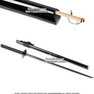 Shinobi Ninja Sword Hand Honed Sharp Edge Black Blade with Hidden Snorkel
