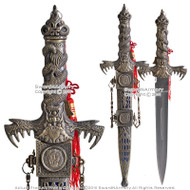"14"" Fantasy Dragon Dagger Short Sword with Sheath Belt Loop Red Tassel"