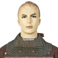 Medieval Chainmail Aventail Neck Protector w/ High Tensile Rings Leather Strap L