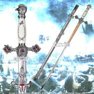 "Masonic Knights Templar Ceremonial Sword Chrome Fittings Red Crosses 29"" Blade"