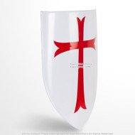 Functional Medieval Knights Templar Red Cross Heater Shield 18G Steel LARP SCA