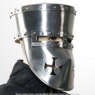 Functional 16G Steel Crusader Knights Templar Helmet Great Helm WMA SCA LARP