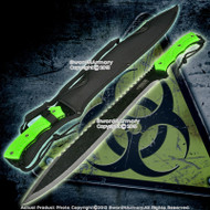 "25"" Biohazard Zombie Survival Gear Hunter Machete Green Handle w/ Carrying Sheath"