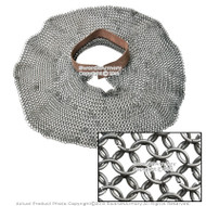 Medieval Chainmail Aventail Neck Protector w/ High Tensile Rings Leather Collar