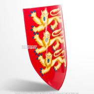 Royal Arms of England Lion Shield 18G Steel with Grip LARP Medieval Renaissance