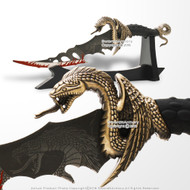 "13"" Hydra Winged Serpent Fantasy Dagger Short Sword with Display Table Stand"