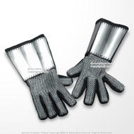 Medieval Suede Leather Glove with 18G Plate Steel Chainmail Gauntlets Leather