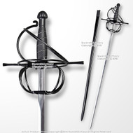 "43"" Black Stainless Steel Swept Hilt Guard Rapier Medieval Renaissance Sword"