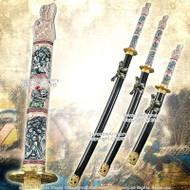 4 Pcs Closed Mouth Dragon Samurai Katana Sword Set Black