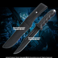 "12"" Black Fixed Blade Tactical Knife Serrated Dagger with Nylon Pouch"