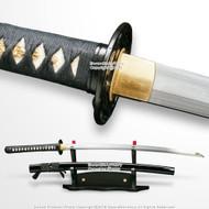 Musashi DH T10 Steel Choji Hamon Handmade Samurai Katana Sword with Leaf Tsuba
