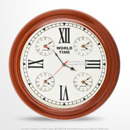 Handmade Wooden Wall World Time Clock with 4 Zones Decoration Nautical Gift