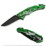 "8"" Emergency Spring Assisted Opening Knife Zombie Symbol Stone Finished Blade"