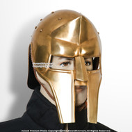 Medieval Brass Coated 18G Steel Roman Maximus Gladiator Helmet Collector Edition