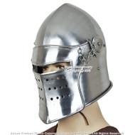 Functional Battle Ready Bascinet Close Combat Helmet 16G Steel Leather Line SCA