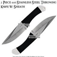 """2 Pcs 8.75"""" Steel Throwing Knives With Sheath"""
