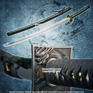 "41"" Hand Honed Samurai Katana Sword with Ninja Style Dragon Square Tsuba"