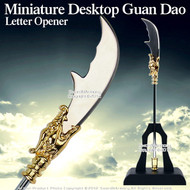 Miniature Desktop Guan Dao Letter Opener Steel W/ Black Table Top Stand