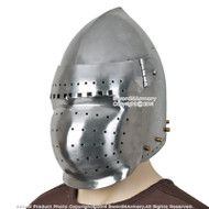 Battle Ready Functional Medieval Bascinet Helmet with Visor 14th Century 16G Steel SCA