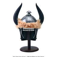Viking Barbarian Helmet With Horns Arming Cap and Stand