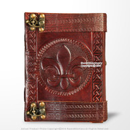 Medieval Genuine Leather Journal Diary Parchment Paper Notebook Fleur de Lis