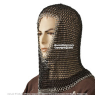 Black & Silver 2 Tone Chainmail Head Coif Hood Medieval Renaissance Costume LARP