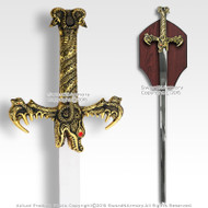 Hand And A Half Fantasy Dragon King Medieval Sword with Display Plaque