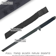 "27"" Full Tang Black Blade Ninja Sword With Shoulder Strap"