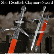 Short Scottish Claymore Sword Medieval Historic Dagger
