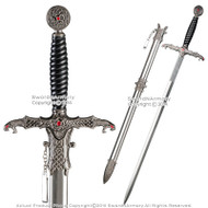 "31.5"" One Handed Medieval Snake Cobra Fantasy Sword with Steel Scabbard Cosplay"
