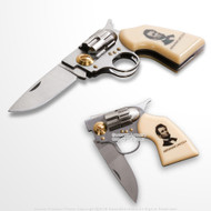 "7.5"" Abraham Lincoln Memorial Revolver Shape Fantasy Folding Knife w/ Gift Box"