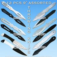 "12 Pcs 9"" Assorted Styles Throwing Knife Set Knives Throwers w/ Rolling Case"