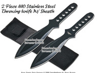 "2 Pcs 8.5"" Black Stainless Steel Throwing Knife With Case"