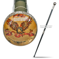 American Bold Eagle Emblem Two-Piece Walking Cane Gentleman Stick Steel Staff