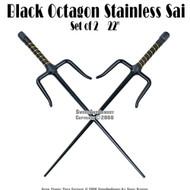 "Set of 2 21"" Black Octagon Stainless Sai Karate Practice"
