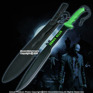 "25"" Full Tang Green Zombie Killer Machete Survival Gear with Carrying Sheath"