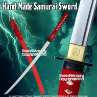 Handmade Samurai Katana Sword w/ Musashi Tsuba Red Scab