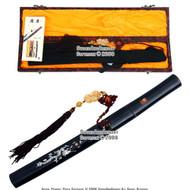 Musashi Handmade Shirasaya Tanto Samurai Short Sword Dragon Scab with Jade Tassel