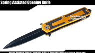 Spring Assisted Open Knife Tactical Pocket Folder with Glass Breaker Gold Handle