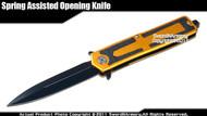 Spring Assisted Open Knife Tactical Pocket Folder with Glass Breaker Gold Handle