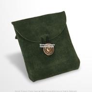 Medieval Green Genuine Suede Leather Belt Pouch Satchel Bag Renaissance Costume