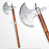 "35"" Iron Polished Medieval Viking Battle Axe with Spike LARP Renaissance Costume"